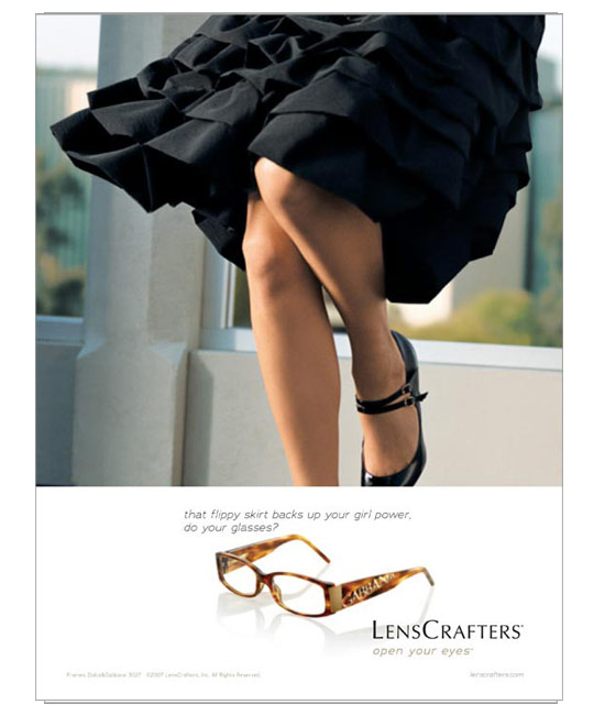 Lencrafters ad / flippy skirt