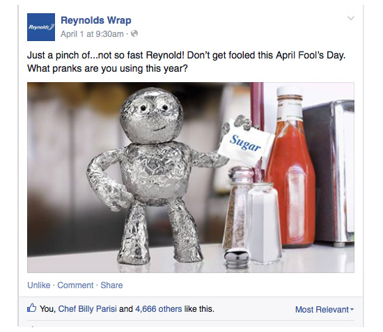 Reynolds Wrap / April Fools / Facebook